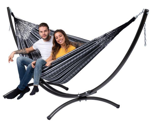 Hangmat met Staander 2 Persoons Arc & Comfort Black White