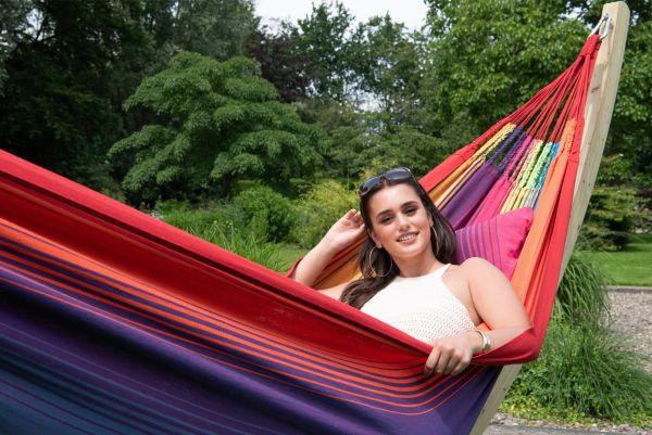 Hangmat met Staander Familie Wood & Refresh Rainbow