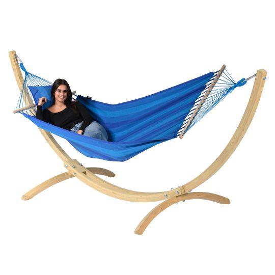 Hangmat met Staander 1 Persoons Wood & Relax Blue