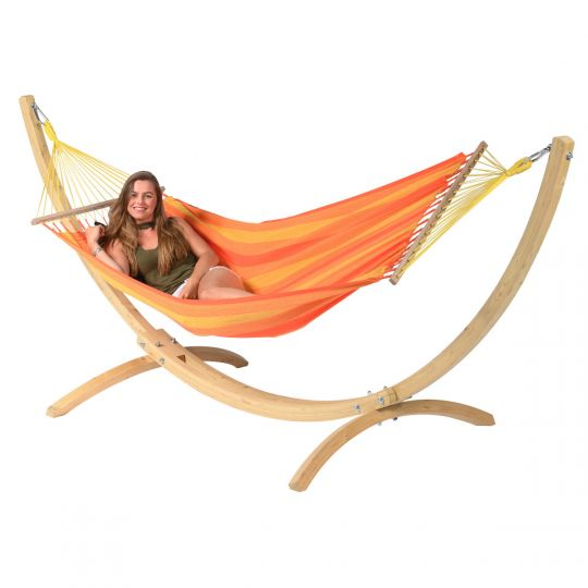Hangmat met Staander 1 Persoons Wood & Relax Orange