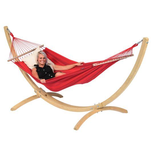 Hangmat met Staander 1 Persoons Wood & Relax Red